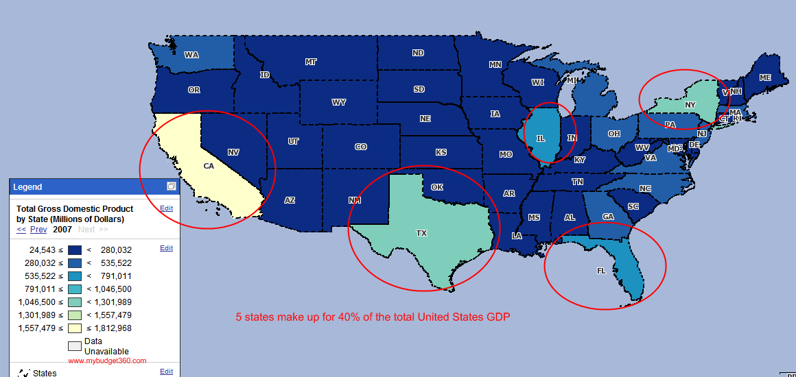 Gross Domestic Product  Percent Of The United States GDP Comes - Us gdp map