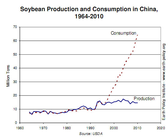 china soybean production consumption