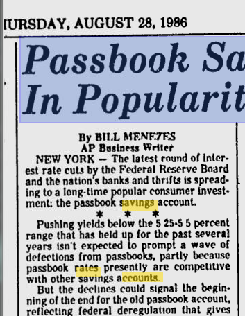 savings rate on passbook savings 5 percent 1980s